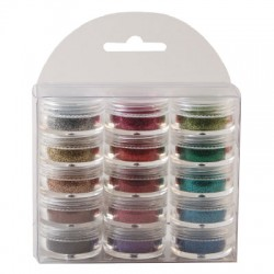 (1619/003)Glitter ultra fine 15 pots assorted