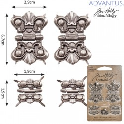 (TH93075)Tim Holtz hinges x4 long + fasteners x16