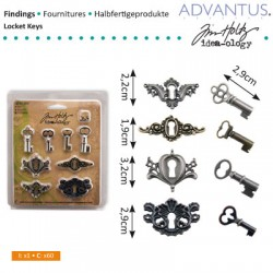 (TH92822)Tim Holtz locket keys x4, keyholes x4, fasteners x8