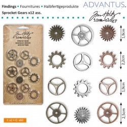 (TH92691)Tim Holtz sprocket gears x12 ass. antique