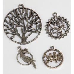 (12248-4804)Bedeltjes - (4) Trees + bird
