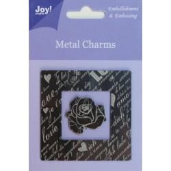 (6350/0100)Metal charms Vierkant + roos