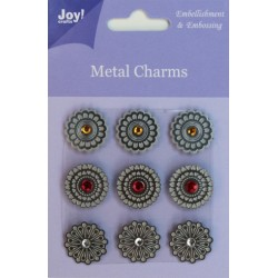(6350/0103)Metal Charms Round (9 pcs)