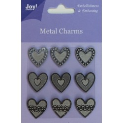 (6350/0104)Metal Charms Hearts (9 pcs)