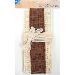 (6300/0503)Decoration ribbon - Jute - Set ivory - brown - ivory