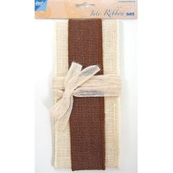 (6300/0503)Decoration ribbon - Jute - Set ivory - brown - ivory