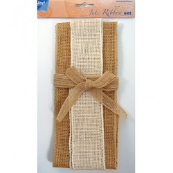 (6300/0501)Decoration ribbon - Jute - Set naturel-ivory-naturel