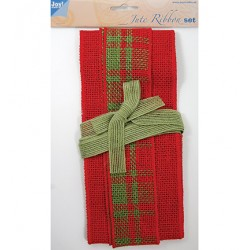 (6300/0502)Decoration ribbon - Jute - Set red - red/green tartan