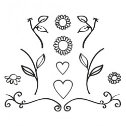 (FG2462)Marianne Design Quilling Clearstamps Flowers & Hearts