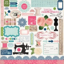(CB-SL25014)Carta Bella Sew Lovely 12x12 Inch Element Stickers