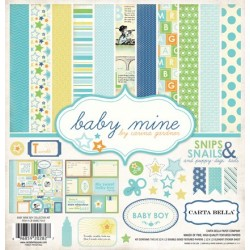 (CB-BMB27016)Carta Bella Baby Mine Boy 12x12 Inch Collection Kit