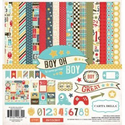 (CB-BOB30016)Carta Bella Boy Oh Boy 12x12 Inch Collection Kit