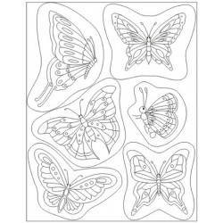 Pergamano clear stamps & block butterflies (41902)