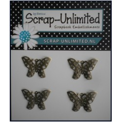 (VB005)Scrap-Unlimited 4 bronzen vlindertjes