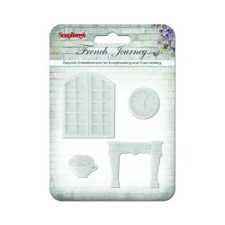 (SCB26001010)ScrapBerry's Set Of Polymer Items French Journey 3