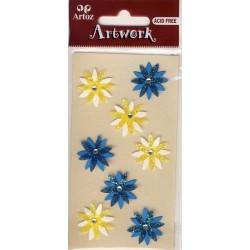 Artwork 185600-48 fleurs bleu et jaune