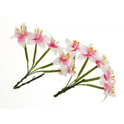 (SCB290403)ScrapBerry's Stemmed Lily 10 pcs White & Pink