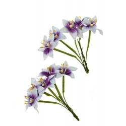 (SCB290404)ScrapBerry's Stemmed Lily 10 pcs Purple & White