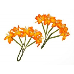 (SCB290405)ScrapBerry's Stemmed Lily 10 pcs Yellow & Orange