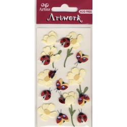 Artwork 185600-42 coccinelle+fleurs jaunes