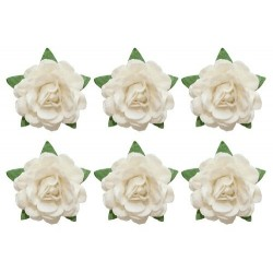 (SCB291801)ScrapBerry's Tea Roses' 18 mm 6 pcs White