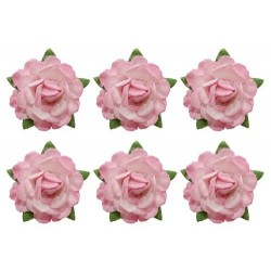 (SCB291802)ScrapBerry's Tea Roses' 18 mm 6 pcs Pink & White