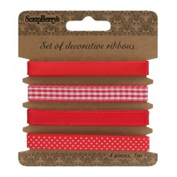 (SCB390507)ScrapBerry's Ribbons Red 4 pcs 1 m Each