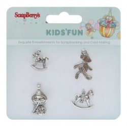 (SCB250001055)ScrapBerry's Metal Charms Kids'Fun 4 pcs