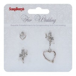 (SCB250001056)ScrapBerry's Metal Charms For Wedding 4 pcs