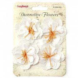 (SCB281301)ScrapBerry's Set Of Decorative Flowers White