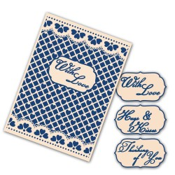 (EF013)Tattered Lace Interchangeable Embossing Folder Lacy Grid
