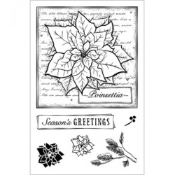 (CBS0006)Stamp clear Poinsettia Collage