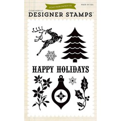 (EPSTAMP12)Echo Park Clear Acrylic Stamps Happy Holidays