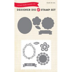 (EPDIE/STAMP03)Echo Park Simple Life Hello Die & Stamp Combo Set