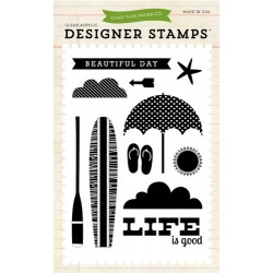 (EPSTAMP02)Echo Park Walking On Sunshine Beach Day Clear Stamps