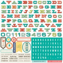(WS67015)Echo Park Walking On Sunshine 12x12 Inch Alpha Stickers