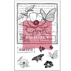 (CBS0015)Stamp clear With Love - Peony Collage