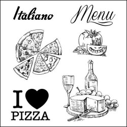 (SCB4904014b)ScrapBerry's Clear Stamps Discover Italy Menu