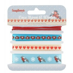 (SCB390525)ScrapBerry's Ribbons Once Upon A Winter 1 m Each 4 pc