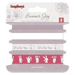 (SCB390523)ScrapBerry's Ribbons Summer Joy 4 pieces 1 m Each