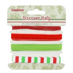 (SCB390521)ScrapBerry's Ribbons Discover Italy 4 pcs 1 m Each