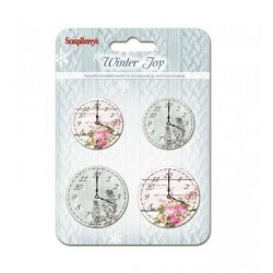 (SCB341129)ScrapBerry's Set Of Clock Winter Joy 4 pcs