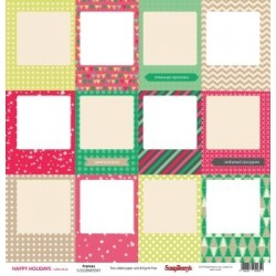 (SCB220605507b)ScrapBerry's Double-sided paper Happy Holiday Fra