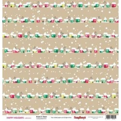 (SCB220605501)ScrapBerry's Double-sided paper Happy Holiday Snow
