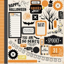 (CB-SP32014)Carta Bella Spooky 12x12 Inch Sticker Sheet