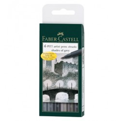 (FC-167104)Faber Castell PITT big brush Shades of Grey 6x