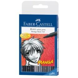 (FC-167107)Faber Castell PITT artist pen Manga box of 8