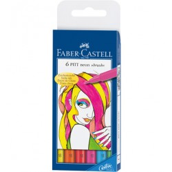 (FC-567406)Faber Castell PITT Neon brush wallet of 6