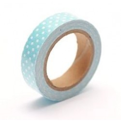 (SCB490040)ScrapBerry's Cotton Tape With Blue Spotted Print