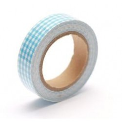 (SCB490041)ScrapBerry's Cotton Tape With Blue Plaided Print